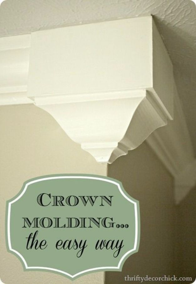 DIY Home Improvement Projects On A Budget - Add Crown Molding - Cool Home Improvement Hacks, Easy and Cheap Do It Yourself Tutorials for Updating and Renovating Your House - Home Decor Tips and Tricks, Remodeling and Decorating Hacks - DIY Projects
