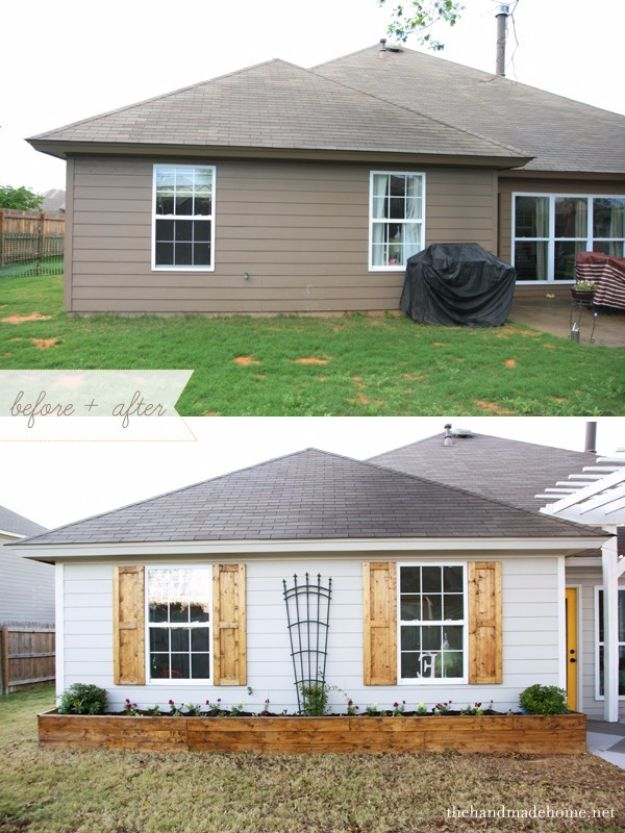 DIY Home Improvement Projects On A Budget - Add Shutters - Cool Home Improvement Hacks, Easy and Cheap Do It Yourself Tutorials for Updating and Renovating Your House - Home Decor Tips and Tricks, Remodeling and Decorating Hacks - DIY Projects and Crafts by DIY JOY http://diyjoy.com/diy-home-improvement-ideas-budget