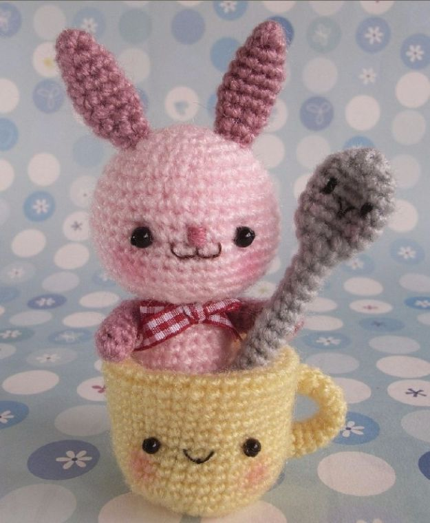 Free Amigurumi Patterns For Beginners and Pros - Amigurumi Bunny With cup And Spoon - Easy Amigurimi Tutorials With Step by Step Instructions - Learn How To Crochet Cute Amigurimi Animals, Doll, Mobile, Mini Elephant, Cat, Dinosaur, Owl, Bunny, Dog - Creative Ways to Crochet Cool DIY Gifts for Kids, Teens, Baby and Adults http://diyjoy.com/free-amigurumi-patterns