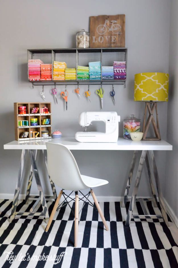 DIY Craft Room Storage Ideas and Craft Room Organization Projects - Anchored Fabric Storage - Cool Ideas for Do It Yourself Craft Storage, Craft Room Decor and Organizing Project Ideas - fabric, paper, pens, creative tools, crafts supplies, shelves and sewing notions #diyideas #craftroom