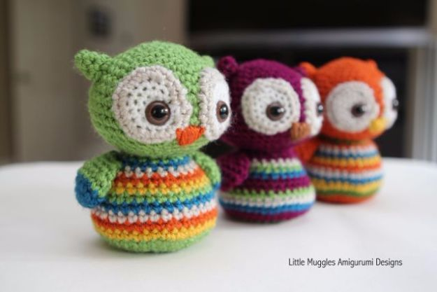 Free Amigurumi Patterns For Beginners and Pros - Baby Owl Amigurumi - Easy Amigurimi Tutorials With Step by Step Instructions - Learn How To Crochet Cute Amigurimi Animals, Doll, Mobile, Mini Elephant, Cat, Dinosaur, Owl, Bunny, Dog - Creative Ways to Crochet Cool DIY Gifts for Kids, Teens, Baby and Adults #amigurumi #crochet