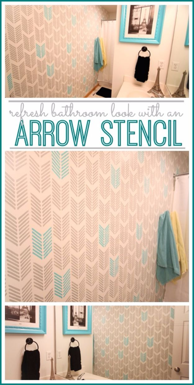 Creative DIY Home Improvement Projects On A Budget - Bathroom Arrow Stencil Refresh - Cool Home Improvement Hacks, Easy and Cheap Do It Yourself Tutorials for Updating and Renovating Your House - Home Decor Tips and Tricks, Remodeling ideas