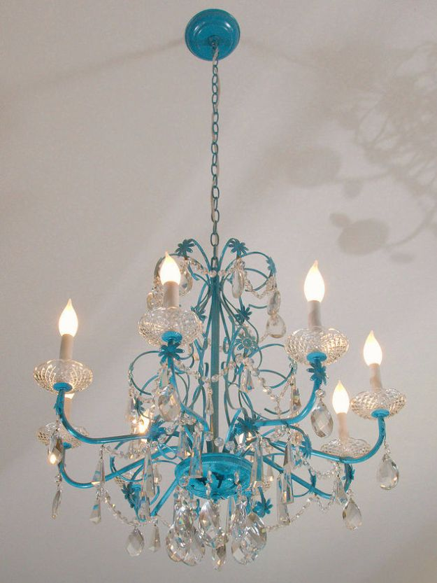 DIY Chandelier Makeovers - Blue Chandelier Redo - Easy Ideas for Old Brass, Crystal and Ugly Gold Chandelier Makeover - Cool Before and After Projects for Chandeliers - Farmhouse, Shabby Chic and Vintage Home Decor on A Budget - Living Room, Bedroom and Dining Room Idea DIY Joy Projects and Crafts