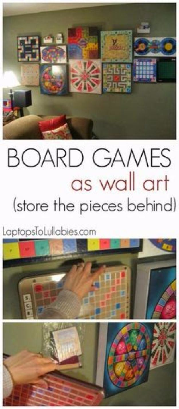 DIY Media Room Ideas - Board Games As Wall Art - Do It Yourslef TV Consoles, Wall Art, Sofas and Seating, Chairs, TV Stands, Remote Holders and Shelving Tutorials - Creative Furniture for Movie Rooms and Video Game Stations #mediaroom #diydecor