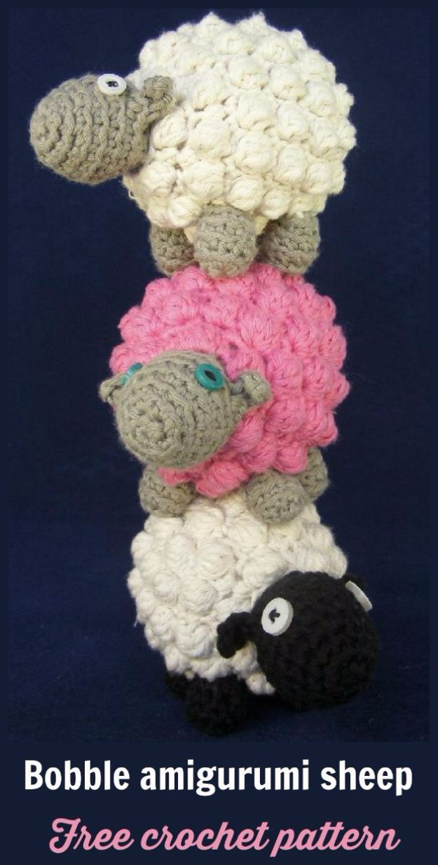 Free Amigurumi Patterns For Beginners and Pros - Bobble Amigurumi Sheep - Easy Amigurimi Tutorials With Step by Step Instructions - Learn How To Crochet Cute Amigurimi Animals, Doll, Mobile, Mini Elephant, Cat, Dinosaur, Owl, Bunny, Dog - Creative Ways to Crochet Cool DIY Gifts for Kids, Teens, Baby and Adults http://diyjoy.com/free-amigurumi-patterns