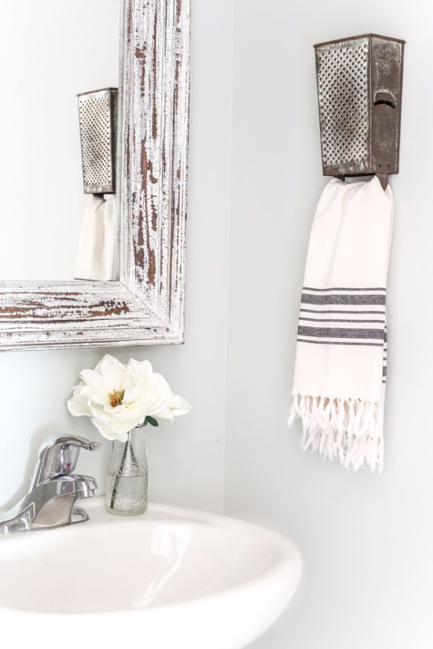 Farmhouse Decor to Make And Sell - Box Grater Towel Rack - Easy DIY Home Decor and Rustic Craft Ideas - Step by Step Country Crafts, Farmhouse Decor To Make and Sell on Etsy and at Craft Fairs - Tutorials and Instructions for Creative Ways to Make Money - Best Vintage Farmhouse DIY For Living Room, Bedroom, Walls and Gifts #diydecor
