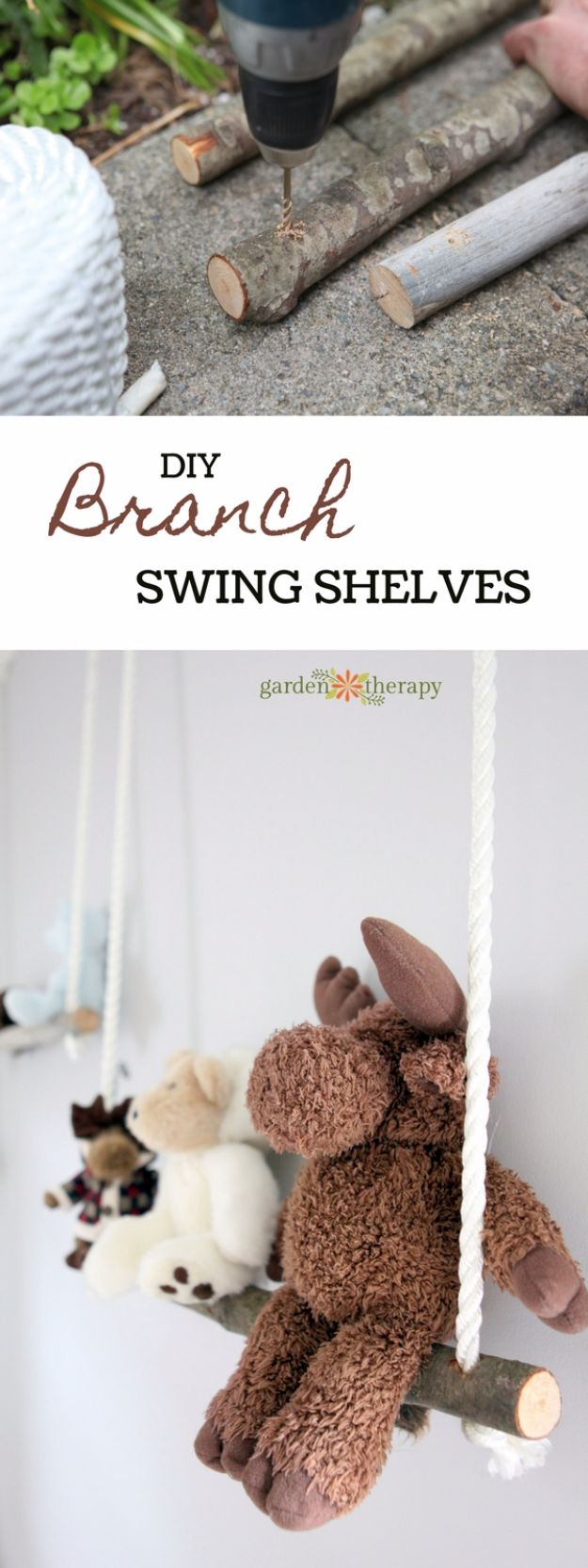 DIY Playroom Ideas and Furniture - Branch Swing Shelves - Easy Play Room Storage, Furniture Ideas for Kids, Playtime Rugs and Activity Mats, Shelving, Toy Boxes and Wall Art - Cute DIY Room Decor for Boys and Girls - Fun Crafts with Step by Step Tutorials and Instructions http://diyjoy.com/diy-playroom-ideas