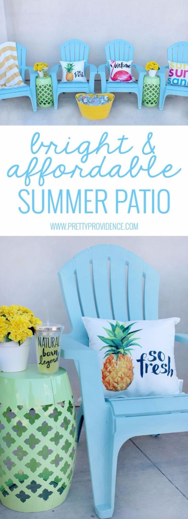 DIY Porch and Patio Ideas - Bright And Affordable Patio - Decor Projects and Furniture Tutorials You Can Build for the Outdoors - Lights and Lighting, Mason Jar Crafts, Rocking Chairs, Wreaths, Swings, Bench, Cushions, Chairs, Daybeds and Pallet Signs http://diyjoy.com/diy-porch-patio-decor