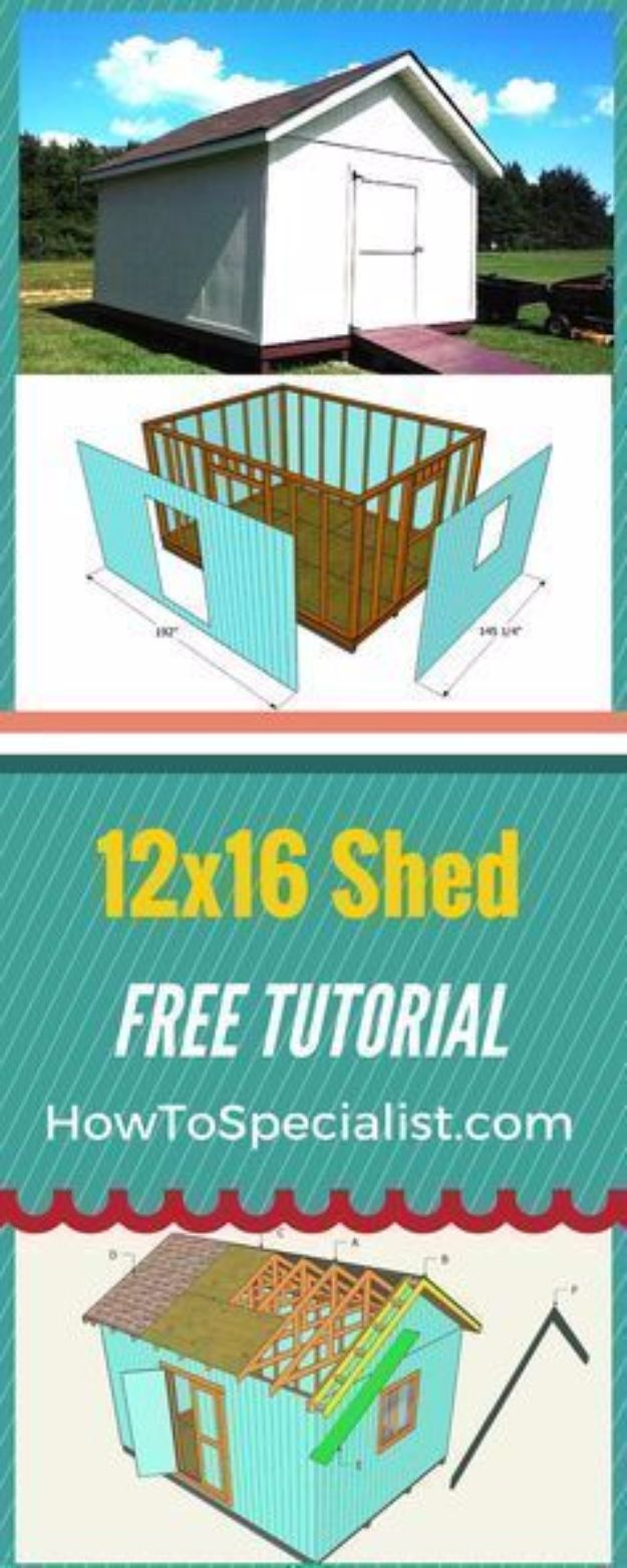 DIY Storage Sheds and Plans - Build A 12x16 Shed - Cool and Easy Storage Shed Makeovers, Cheap Ideas to Build This Weekend, Basic Woodworking Projects to Add Extra Storage Space to Your Home or Small Backyard - How To Build A Shed With Pallets - Step by Step Tutorials and Instructions #storageideas #diyideas #diyhome