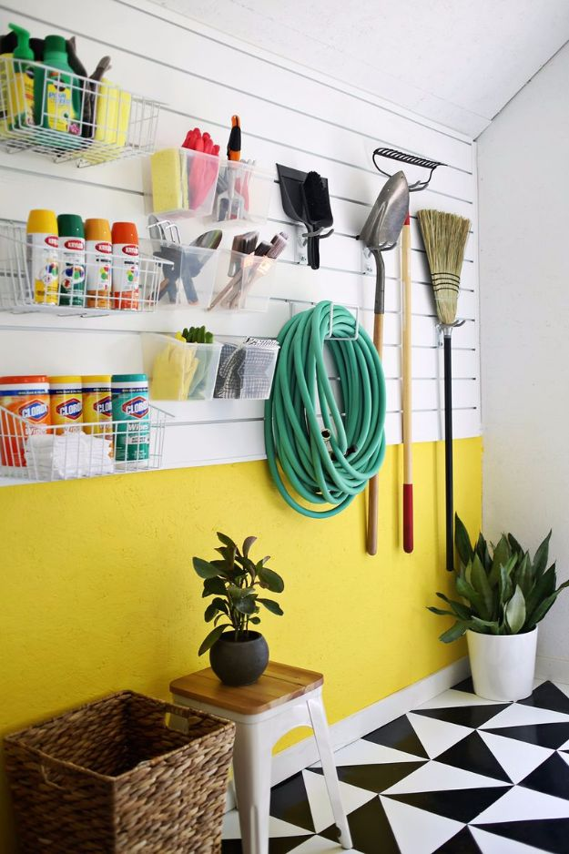 DIY Projects Your Garage Needs - Build A Slat Wall - Do It Yourself Garage Makeover Ideas Include Storage, Mudroom, Organization, Shelves, and Project Plans for Cool New Garage Decor - Easy Home Decor on A Budget http://diyjoy.com/diy-garage-ideas