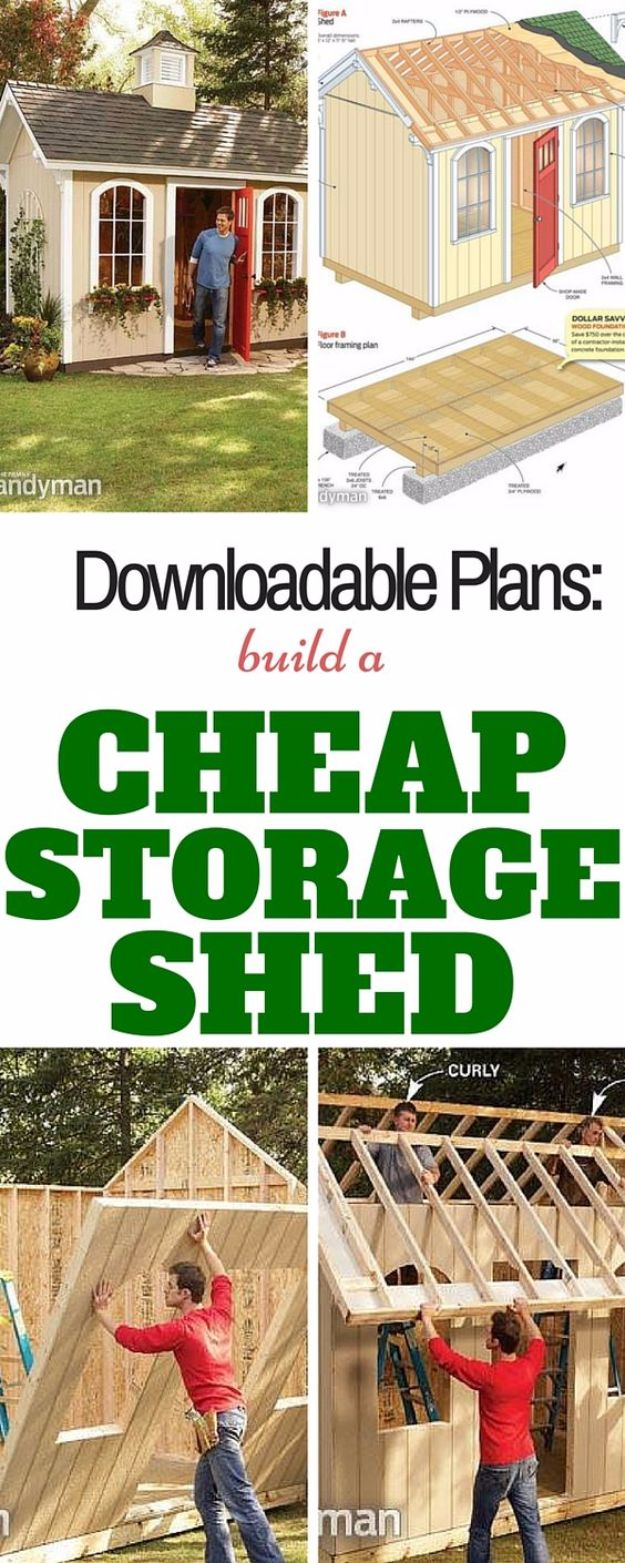 DIY Storage Sheds and Plans - Build a Cheap Storage Shed - Cool and Easy Storage Shed Makeovers, Cheap Ideas to Build This Weekend, Basic Woodworking Projects to Add Extra Storage Space to Your Home or Small Backyard - How To Build A Shed With Pallets - Step by Step Tutorials and Instructions #storageideas #diyideas #diyhome