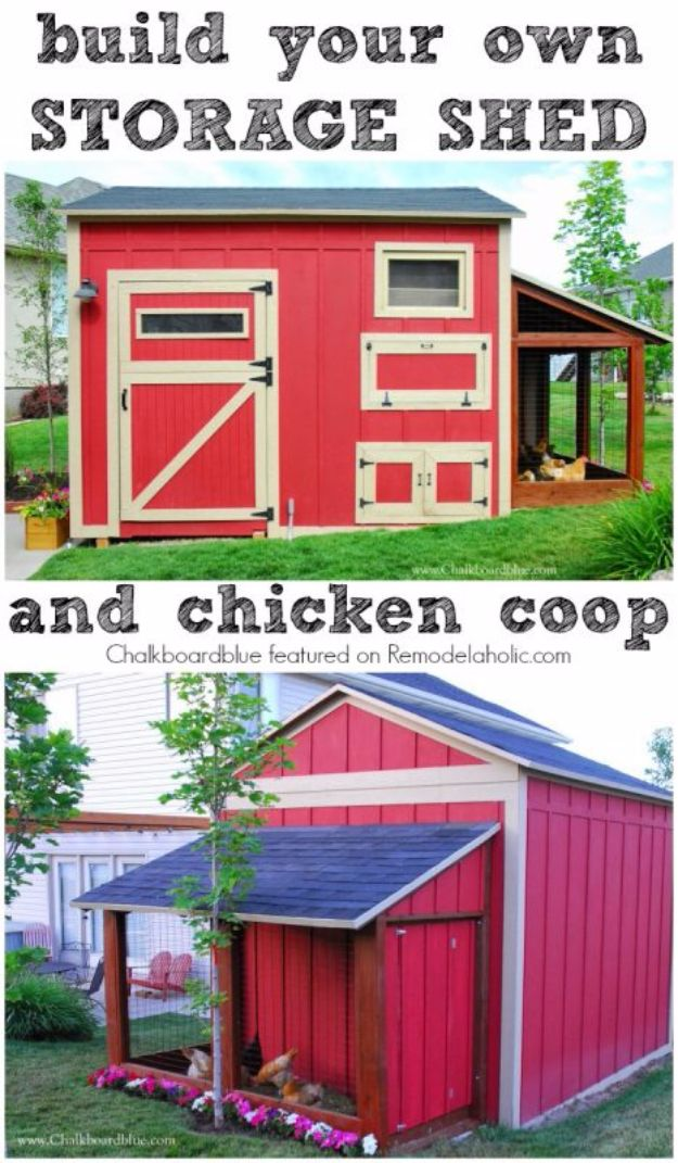 DIY Storage Sheds and Plans - Build a DIY Chicken Coop – Storage Shed Combo - Cool and Easy Storage Shed Makeovers, Cheap Ideas to Build This Weekend, Basic Woodworking Projects to Add Extra Storage Space to Your Home or Small Backyard - How To Build A Shed With Pallets - Step by Step Tutorials and Instructions http://diyjoy.com/diy-storage-sheds-plans