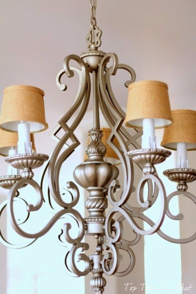 DIY Chandelier Makeovers - Burlap Chandelier Makeover - Easy Ideas for Old Brass, Crystal and Ugly Gold Chandelier Makeover - Cool Before and After Projects for Chandeliers - Farmhouse, Shabby Chic and Vintage Home Decor on A Budget - Living Room, Bedroom and Dining Room Idea DIY Joy Projects and Crafts