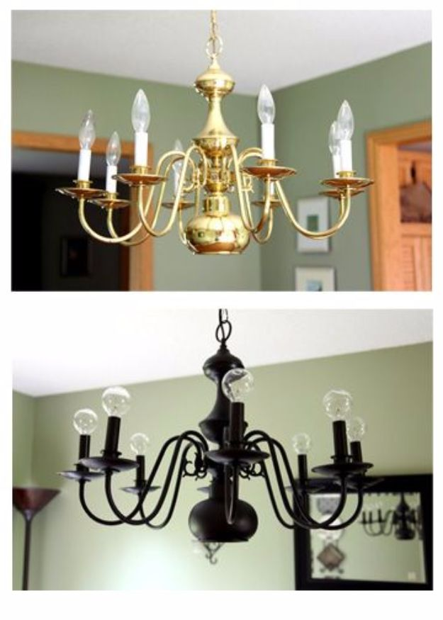 DIY Chandelier Makeovers - Bye Bye Brass - Easy Ideas for Old Brass, Crystal and Ugly Gold Chandelier Makeover - Cool Before and After Projects for Chandeliers - Farmhouse, Shabby Chic and Vintage Home Decor on A Budget - Living Room, Bedroom and Dining Room Idea DIY Joy Projects and Crafts