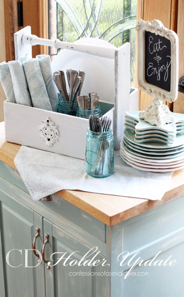 Farmhouse Decor to Make And Sell - CD Holder Update - Easy DIY Home Decor and Rustic Craft Ideas - Step by Step Country Crafts, Farmhouse Decor To Make and Sell on Etsy and at Craft Fairs - Tutorials and Instructions for Creative Ways to Make Money - Best Vintage Farmhouse DIY For Living Room, Bedroom, Walls and Gifts #diydecor