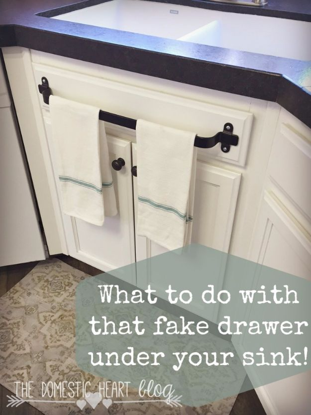 DIY Remodeling Hacks - Cabinet Towel Bar - Quick and Easy Home Repair Tips and Tricks - Cool Hacks for DIY Home Improvement Ideas - Cheap Ways To Fix Bathroom, Bedroom, Kitchen, Outdoor, Living Room and Lighting - Creative Renovation on A Budget - DIY Projects and Crafts by DIY JOY #remodeling #homeimprovement #diy #hacks
