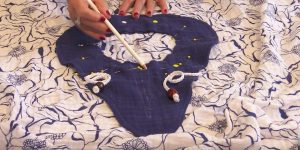 She Sews This Piece Of Fabric To Gauze And Finishes Up  A Cool Summer Item You Need!
