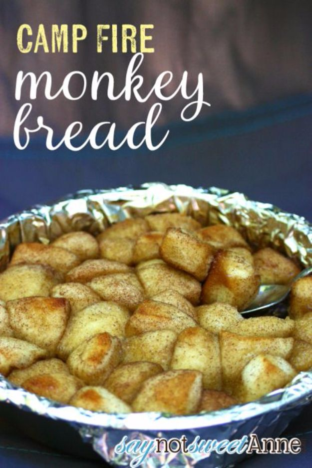 DIY Camping Hacks - Camp Fire Monkey Bread - Easy Tips and Tricks, Recipes for Camping - Gear Ideas, Cheap Camping Supplies, Tutorials for Making Quick Camping Food, Fire Starters, Gear Holders and More http://diyjoy.com/camping-hacks