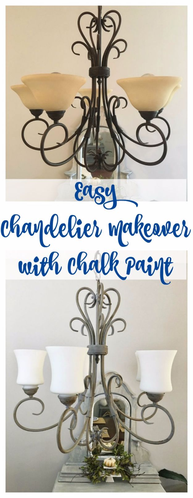 DIY Chandelier Makeovers - Chandelier Makeover with Chalk Paint - Easy Ideas for Old Brass, Crystal and Ugly Gold Chandelier Makeover - Cool Before and After Projects for Chandeliers - Farmhouse, Shabby Chic and Vintage Home Decor on A Budget - Living Room, Bedroom and Dining Room Idea DIY Joy Projects and Crafts http://diyjoy.com/diy-chandelier-makeovers