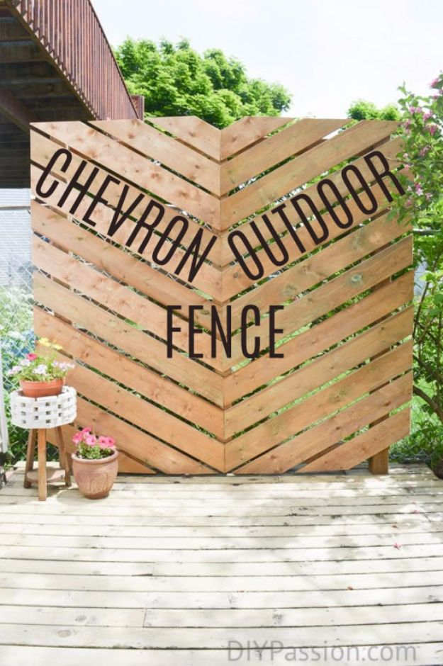 DIY Ideas With Old Fence Posts - Chevron Outdoor Fence - Rustic Farmhouse Decor Tutorials and Projects Made With An Old Fence Post - Easy Vintage Shelving, Wall Art, Picture Frames and Home Decor for Kitchen, Living Room and Bathroom - Creative Country Crafts, Seating, Furniture, Patio Decor and Rustic Wall Art and Accessories to Make and Sell http://diyjoy.com/diy-projects-fence-posts