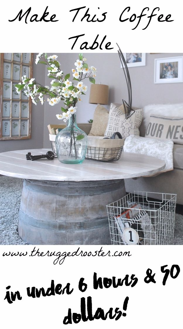DIY Ideas With Old Barrels - Coffee Table - Rustic Farmhouse Decor Tutorials and Projects Made With a Barrel - Easy Vintage Home Decor for Kitchen, Living Room and Bathroom - Creative Country Crafts, Dog Beds, Seating, Furniture, Patio Decor and Rustic Wall Art and Accessories to Make and Sell tp://diyjoy.com/diy-projects-old-barrels