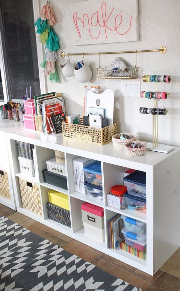 DIY Craft Room Ideas and Craft Room Organization Projects - Colorful And Functional Craft Room - Cool Ideas for Do It Yourself Craft Storage, Craft Room Decor and Organizing Project Ideas - fabric, paper, pens, creative tools, crafts supplies, shelves and sewing notions