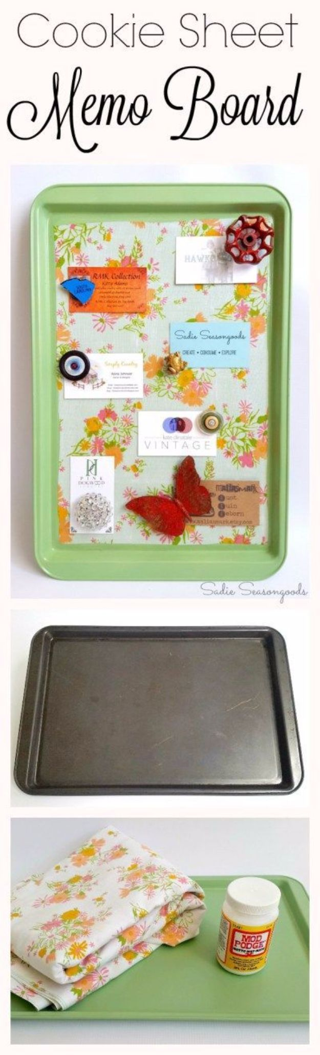 Country Crafts to Make And Sell - Cookie Sheet Magnetic Memo Board - Easy DIY Home Decor and Rustic Craft Ideas - Step by Step Farmhouse Decor To Make and Sell on Etsy and at Craft Fairs - Tutorials and Instructions for Creative Ways to Make Money - Best Vintage Farmhouse DIY For Living Room, Bedroom, Walls and Gifts #craftstosell #countrycrafts #etsyideas