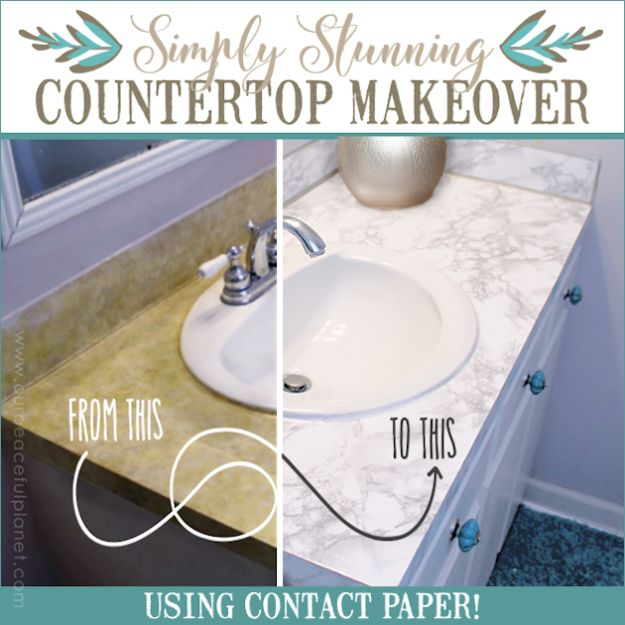 DIY Remodeling Hacks - Countertop Makeover Using Contact Paper - Quick and Easy Home Repair Tips and Tricks - Cool Hacks for DIY Home Improvement Ideas - Cheap Ways To Fix Bathroom, Bedroom, Kitchen, Outdoor, Living Room and Lighting - Creative Renovation on A Budget - DIY Projects and Crafts by DIY JOY http://diyjoy.com/diy-remodeling-hacks