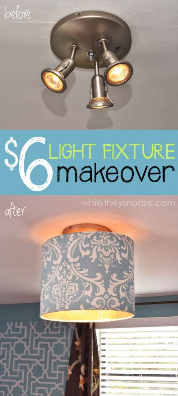 DIY Home Improvement Projects On A Budget - Cover An Ugly Light Fixture - Cool Home Improvement Hacks, Easy and Cheap Do It Yourself Tutorials for Updating and Renovating Your House - Home Decor Tips and Tricks, Remodeling and Decorating Hacks - DIY Projects and Crafts by DIY JOY http://diyjoy.com/diy-home-improvement-ideas-budget