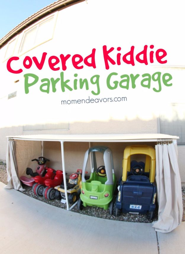 DIY Projects Your Garage Needs - Covered Kiddie Car Parking Garage - Do It Yourself Garage Makeover Ideas Include Storage, Mudroom, Organization, Shelves, and Project Plans for Cool New Garage Decor - Easy Home Decor on A Budget http://diyjoy.com/diy-garage-ideas
