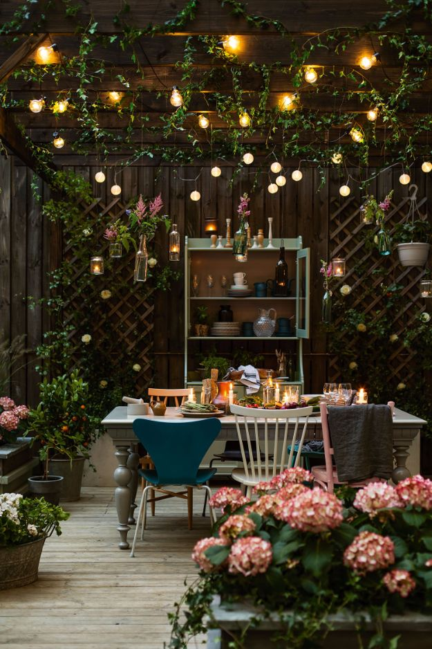 DIY Outdoor Lighting Ideas - Cozy Patio Lights - Do It Yourself Lighting Ideas for the Backyard, Patio, Porch and Pool - Lights, Chandeliers, Lamps and String Lights for Your Outdoors - Dining Table and Chair Lighting, Overhead, Sconces and Weatherproof Projects #diy #lighting