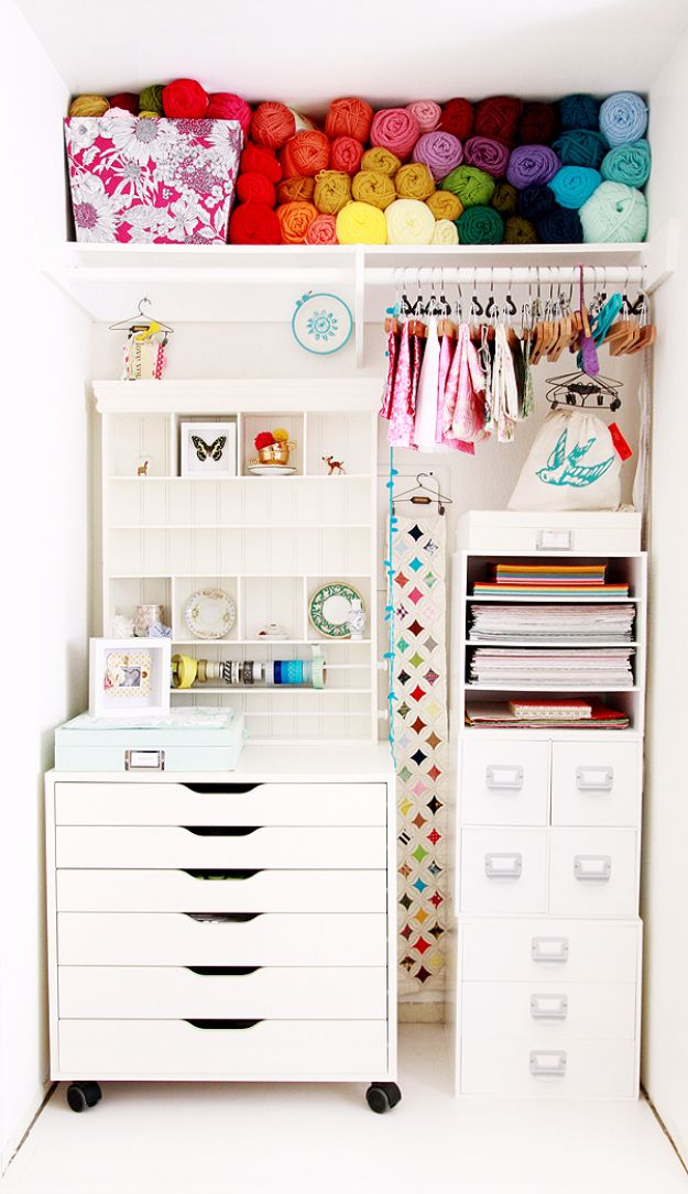 DIY Craft Room Ideas and Craft Room Organization Projects - Craft Closet - Cool Ideas for Do It Yourself Craft Storage, Craft Room Decor and Organizing Project Ideas - fabric, paper, pens, creative tools, crafts supplies, shelves and sewing notions http://diyjoy.com/craft-room-organizing-ideas