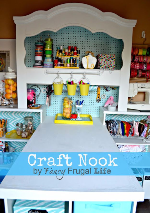 DIY Craft Room Storage Ideas and Craft Room Organization Projects - Craft Nook From Old Headboard - Cool Ideas for Do It Yourself Craft Storage, Craft Room Decor and Organizing Project Ideas - fabric, paper, pens, creative tools, crafts supplies, shelves and sewing notions http://diyjoy.com/diy-craft-room-storage