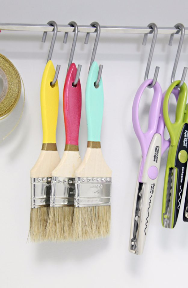 DIY Craft Room Storage Ideas and Craft Room Organization Projects - Craft Paint Storage - Cool Ideas for Do It Yourself Craft Storage, Craft Room Decor and Organizing Project Ideas - fabric, paper, pens, creative tools, crafts supplies, shelves and sewing notions http://diyjoy.com/diy-craft-room-storage
