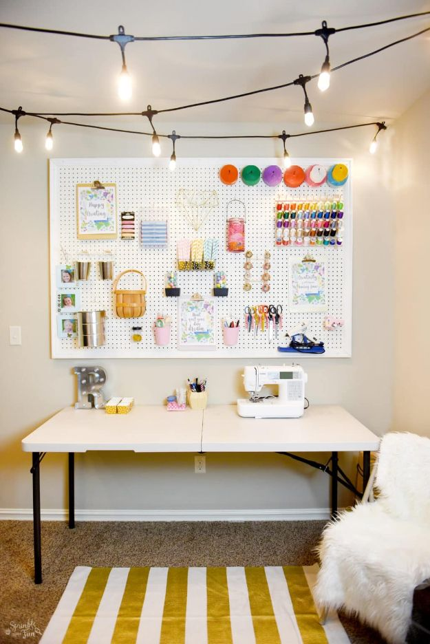 DIY Craft Room Ideas and Craft Room Organization Projects - Craft Room Makeover with Café Lights - Cool Ideas for Do It Yourself Craft Storage, Craft Room Decor and Organizing Project Ideas - fabric, paper, pens, creative tools, crafts supplies, shelves and sewing notions http://diyjoy.com/craft-room-organizing-ideas