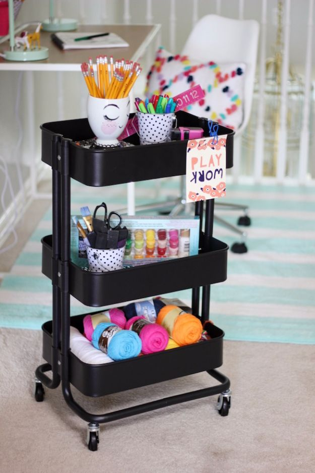 DIY Craft Room Storage Ideas and Craft Room Organization Projects - Craft Supplies Caddy - Cool Ideas for Do It Yourself Craft Storage, Craft Room Decor and Organizing Project Ideas - fabric, paper, pens, creative tools, crafts supplies, shelves and sewing notions #diyideas #craftroom