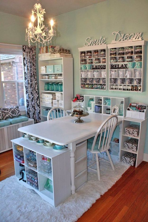 DIY Craft Room Ideas and Craft Room Organization Projects - Crafting A Craft Room - Cool Ideas for Do It Yourself Craft Storage, Craft Room Decor and Organizing Project Ideas - fabric, paper, pens, creative tools, crafts supplies, shelves and sewing notions