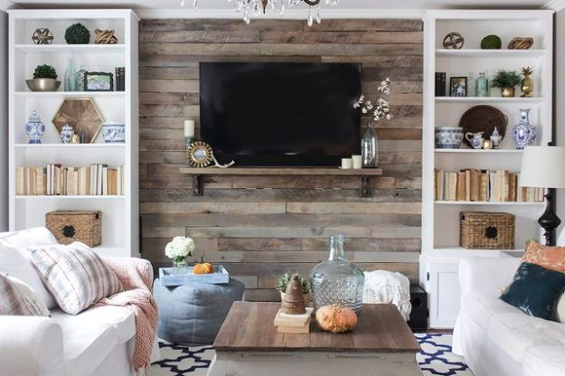 DIY Media Room Ideas - Create a Wood Pallet Accent Wall - Do It Yourslef TV Consoles, Wall Art, Sofas and Seating, Chairs, TV Stands, Remote Holders and Shelving Tutorials - Creative Furniture for Movie Rooms and Video Game Stations #mediaroom #diydecor