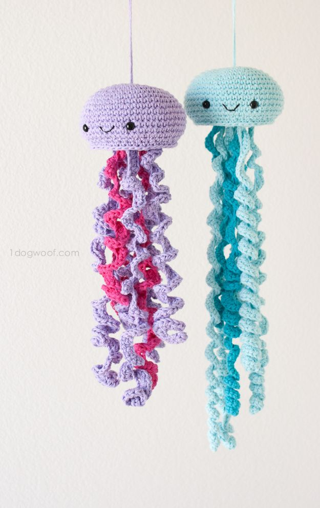 Free Amigurumi Patterns For Beginners and Pros - Crochet Jellyfish Amigurumi - Easy Amigurimi Tutorials With Step by Step Instructions - Learn How To Crochet Cute Amigurimi Animals, Doll, Mobile, Mini Elephant, Cat, Dinosaur, Owl, Bunny, Dog - Creative Ways to Crochet Cool DIY Gifts for Kids, Teens, Baby and Adults #amigurumi #crochet