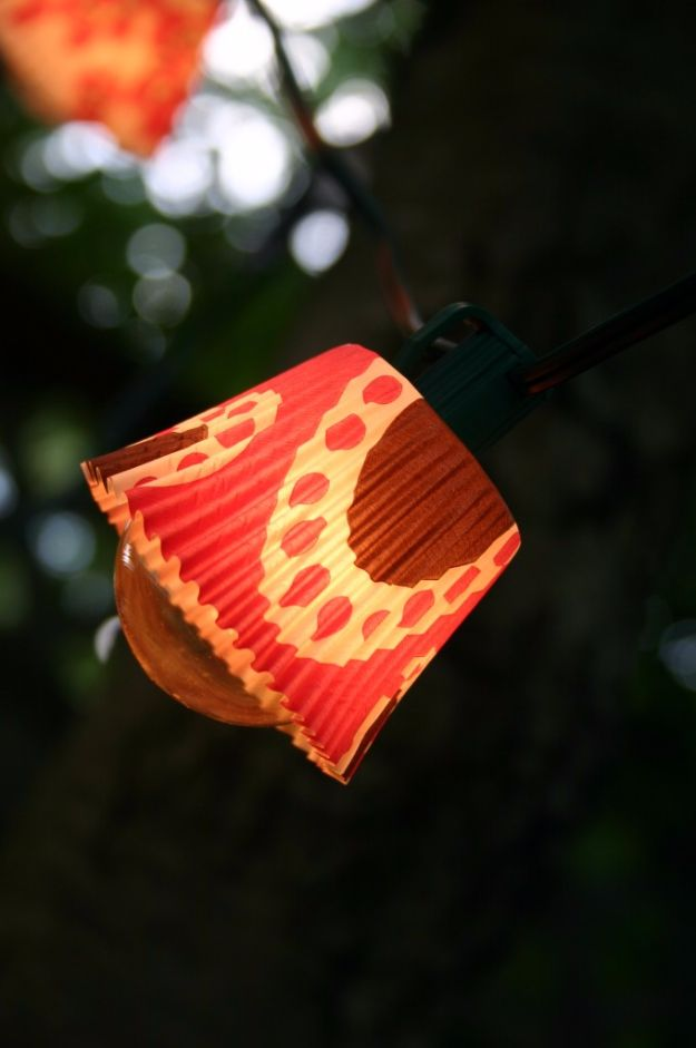 DIY Outdoor Lighting Ideas - Cupcake Liner Lights - Do It Yourself Lighting Ideas for the Backyard, Patio, Porch and Pool - Lights, Chandeliers, Lamps and String Lights for Your Outdoors - Dining Table and Chair Lighting, Overhead, Sconces and Weatherproof Projects #diy #lighting