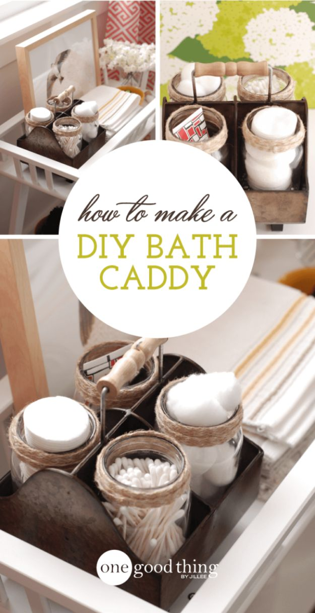 DIY Spa Day Ideas - DIY Bathroom Caddy For Your Spa Day - Easy Sugar Scrubs, Lotions and Bath Ideas for The Best Pampering You Can Do At Home - Lavender Projects, Relaxing Baths and Bath Bombs, Tub Soaks and Facials - Step by Step Tutorials for Luxury Bath Products http://diyjoy.com/diy-spa-day-ideas