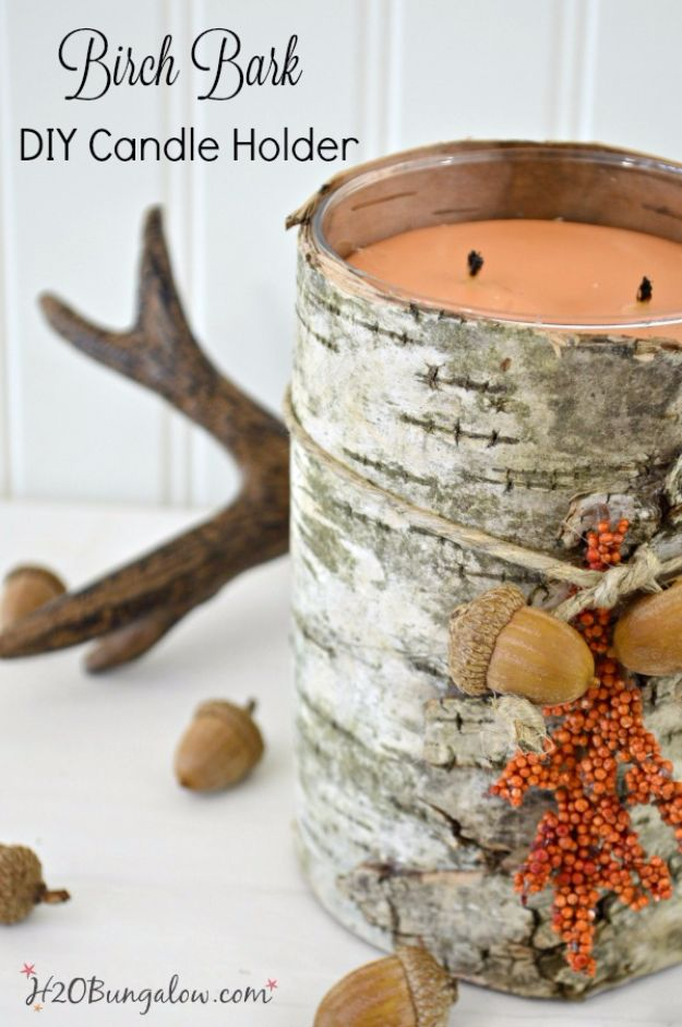 Farmhouse Decor to Make And Sell - DIY Birch Bark Candle Holder - Easy DIY Home Decor and Rustic Craft Ideas - Step by Step Country Crafts, Farmhouse Decor To Make and Sell on Etsy and at Craft Fairs - Tutorials and Instructions for Creative Ways to Make Money - Best Vintage Farmhouse DIY For Living Room, Bedroom, Walls and Gifts #diydecor