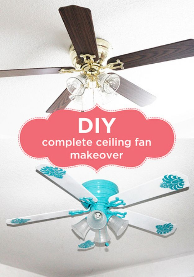 DIY Remodeling Hacks - DIY Ceiling Fan Makeover - Quick and Easy Home Repair Tips and Tricks - Cool Hacks for DIY Home Improvement Ideas - Cheap Ways To Fix Bathroom, Bedroom, Kitchen, Outdoor, Living Room and Lighting - Creative Renovation on A Budget - DIY Projects and Crafts by DIY JOY http://diyjoy.com/diy-remodeling-hacks