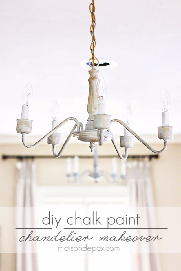 DIY Chandelier Makeovers - DIY Chalk Paint Chandelier Makeover - Easy Ideas for Old Brass, Crystal and Ugly Gold Chandelier Makeover - Cool Before and After Projects for Chandeliers - Farmhouse, Shabby Chic and Vintage Home Decor on A Budget - Living Room, Bedroom and Dining Room Idea DIY Joy Projects and Crafts http://diyjoy.com/diy-chandelier-makeovers