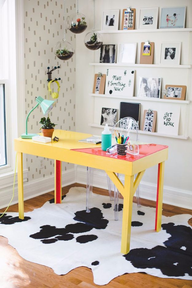 DIY Craft Room Ideas and Craft Room Organization Projects - DIY Colorful Epoxy Topped Desk - Cool Ideas for Do It Yourself Craft Storage, Craft Room Decor and Organizing Project Ideas - fabric, paper, pens, creative tools, crafts supplies, shelves and sewing notions