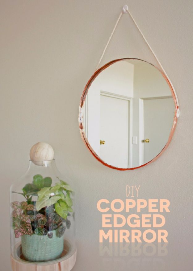 DIY Hacks for Renters - DIY Copper Edged Mirror - Easy Ways to Decorate and Fix Things on Rental Property - Decorate Walls, Cheap Ideas for Making an Apartment, Small Space or Tiny Closet Work For You - Quick Hacks and DIY Projects on A Budget - Step by Step Tutorials and Instructions for Simple Home Decor http://diyjoy.com/diy-hacks-renters