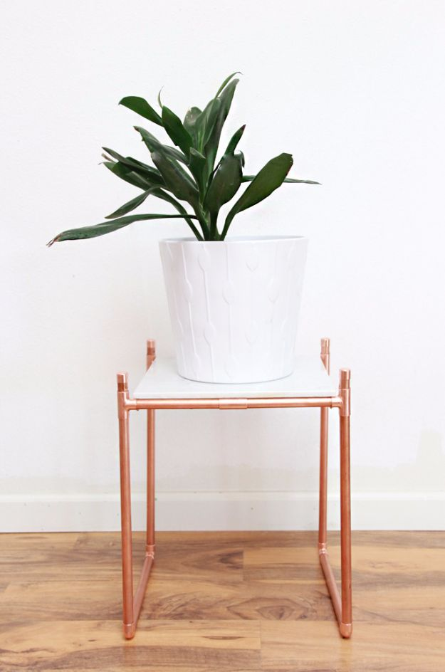 DIY Hacks for Renters - DIY Copper Pipe Marble Plant Stand - Easy Ways to Decorate and Fix Things on Rental Property - Decorate Walls, Cheap Ideas for Making an Apartment, Small Space or Tiny Closet Work For You - Quick Hacks and DIY Projects on A Budget - Step by Step Tutorials and Instructions for Simple Home Decor http://diyjoy.com/diy-hacks-renters