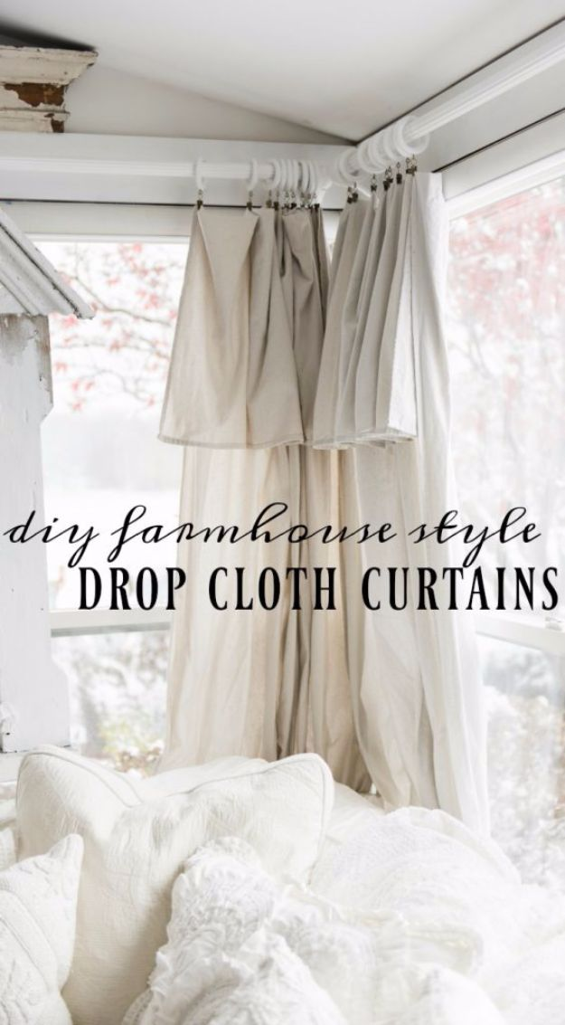 Farmhouse Decor to Make And Sell - DIY Drop Cloth Curtains - Easy DIY Home Decor and Rustic Craft Ideas - Step by Step Country Crafts, Farmhouse Decor To Make and Sell on Etsy and at Craft Fairs - Tutorials and Instructions for Creative Ways to Make Money - Best Vintage Farmhouse DIY For Living Room, Bedroom, Walls and Gifts #diydecor