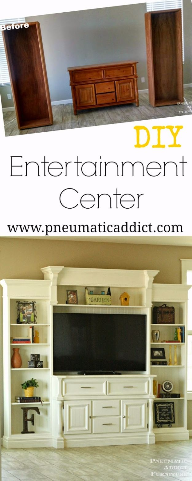DIY Media Room Ideas - DIY Entertainment Center - Do It Yourslef TV Consoles, Wall Art, Sofas and Seating, Chairs, TV Stands, Remote Holders and Shelving Tutorials - Creative Furniture for Movie Rooms and Video Game Stations #mediaroom #diydecor