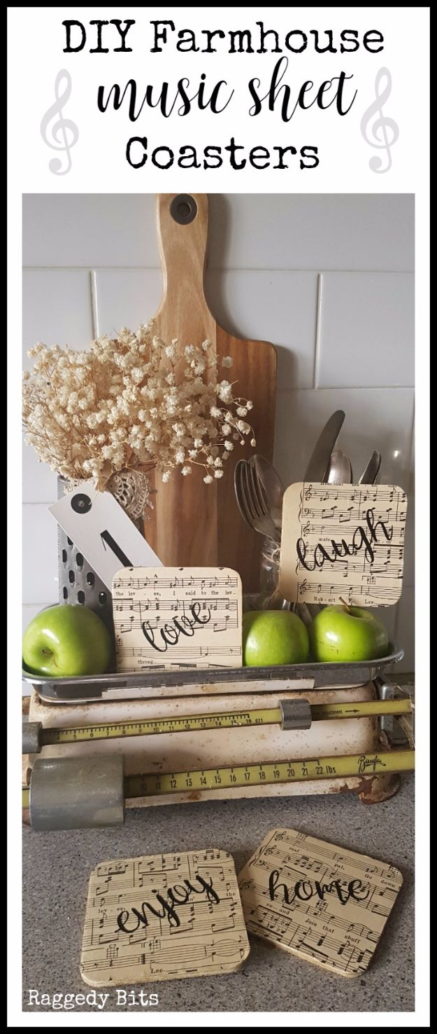 Farmhouse Decor to Make And Sell - DIY Farmhouse Music Sheet Coasters - Easy DIY Home Decor and Rustic Craft Ideas - Step by Step Country Crafts, Farmhouse Decor To Make and Sell on Etsy and at Craft Fairs - Tutorials and Instructions for Creative Ways to Make Money - Best Vintage Farmhouse DIY For Living Room, Bedroom, Walls and Gifts #diydecor